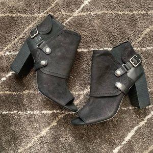 Georgie Black Leather Booties